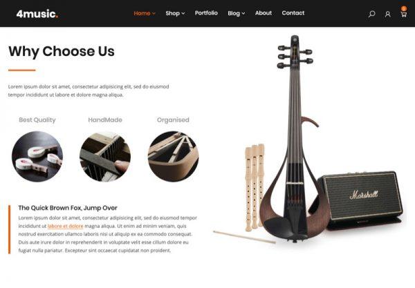 Musical Instrument Store Web Design